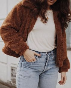 UO Light Brown Teddy Cropped Jacket   Urban Outfitters   Women's   Coats & Jackets via @themoptop #UOEurope #UrbanOutfittersEU #UOonYou