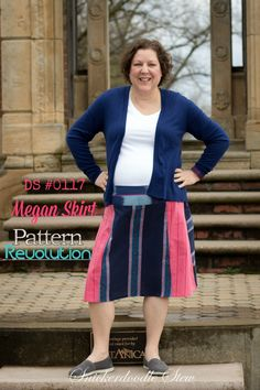 Jessica is sharing her version of the Megan Skirt by Designer Stitch. This   color-blocked, A-line skirt pattern is a great wardrobe builder for the   summer!