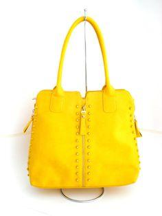 Bolsa de Couro - Charmed (Amarela)   ELI Bolsas e Acessórios   Elo7