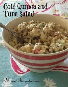 Cold Quinoa and Tuna Salad: Hot Weather, Cold Salad – Favorite Recipes – Tuna Fish Recipes Tuna Fish Recipes, Seafood Recipes, Cooking Recipes, Healthy Recipes, Veg Recipes, Healthy Options, Healthy Eats, Healthy Foods, Yummy Recipes