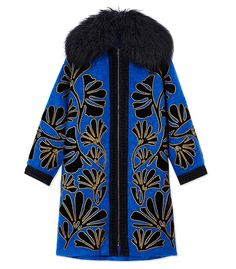 6fa2ffbee4bc Andrew Gn Oversized Floral Coat Cool Coats, Cocktail Outfit, Oversized Coat,  Blue Coats