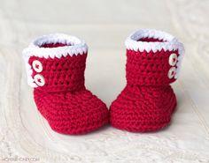Santa Baby Ankle Booties - Crochet Pattern