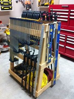 Mobile clamp rack from homemade tools