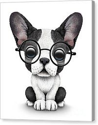 French Bulldog Canvas Print featuring the digital art Cute French Bulldog Puppy Wearing Glasses by Jeff Bartels