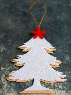 Two-Tone Felt Tree Ornament - A white overlay creates a shadow effect on this simply styled ornament, adorned with a bright red tree topper for an extra bit of flair.