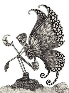 Picture of Skull art fairy surreal. Hand pencil Drawing on paper. stock photo, images and stock photography. Fairy Drawings, Art Drawings Sketches, Tattoo Drawings, Skull Drawings, Skeleton Love, Skeleton Art, Hand Pencil Drawing, Pencil Drawings, Drawings On Hands