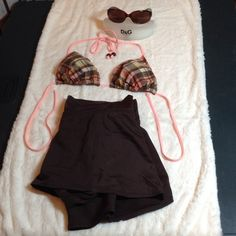 NWOT 2 Piece Swimsuit Never wore either piece. Merino brown bottoms with attached skirt with slit over left leg, made of 82% nylon 18% spandex, hand wash, size small. Xhilaration peach & brown plaid, padded bikini top, ties at back and neck, made of 87% nylon 13% spandex, hand wash, size medium. Both are in excellent condition, no rips, tears or stains. Merona Swim Bikinis