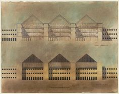 "Regional Administrative Center : ""Trieste e una Donna"", Trieste Italy : Competition Design : Elevation and Section (1974) 