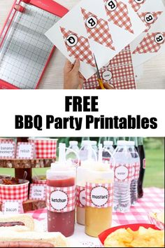 Make a hot dog bar with these fun picnic themed free printables that everyone will love! Make a BBQ banner then print our labels for the condiments, water bottles, and so much more! #bbq #bbqparty #party #printables #freeprintables Halloween Games For Kids, Outdoor Halloween, Halloween Diy, Craft Projects For Adults, Easy Craft Projects, Crafts For Kids, Birthday Bbq, Cowboy Birthday, Cowboy Party