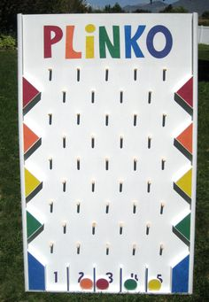 This is my Plinko board I made. Everyone has loved playing it.  My brother drew up the plans and is selling them on ETSY if you are interested.