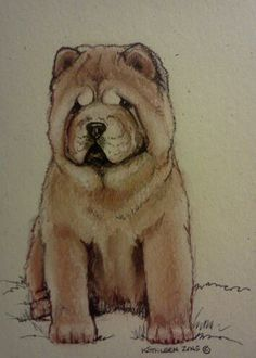 Red, smooth coated Chow Chow by Kathleen Zins. Original. Owned and curated by The Pendragwn Group
