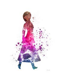 "Anna, Frozen ART PRINT 10 x 8"" illustration, Princess, Disney, Mixed Media, Home Decor, Nursery, Kid"