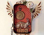 Bunny rabbit with pocket watch in Altoid tin shrine