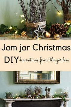 Jam jar Christmas - how to decorate with garden clippings - The Middle-Sized Garden Christmas Candle Holders, Christmas Jars, Christmas Crafts, Christmas Decorations, Christmas Garden, Vintage Christmas, Christmas Ideas, Christmas Flower Arrangements, Christmas Flowers