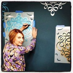 Getting ready for my segment on the Home & Family show for the Hallmark Channel USA! The pattern we're using is the Large Ribbon Damask Stencil. :)