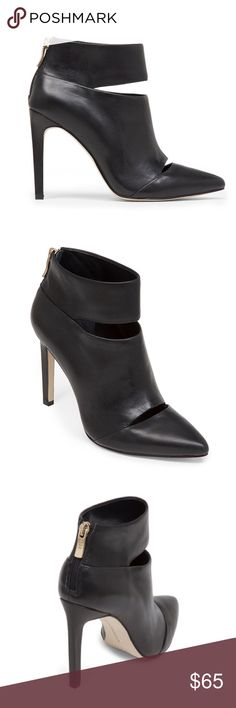 """Leather High-Heel Slit Bootie Put your style on display in a minxish ankle bootie complete with alluring front cutouts.  Stiletto heel. Pointed toe. Slit cutout at ankle. Rear zipper closure. Material: Leather. Imported. Approximately 4"""" heel height. Fits true to size. BCBGeneration Shoes Heeled Boots"""