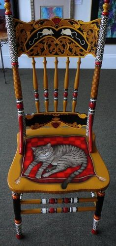 Painted Cat Chair by Andrea Ellwood.