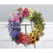 Colorful wreath for a funeral