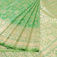 Handwoven green banarasi kadhwa katan silk saree with jangla design 10015916 #saree #sari #sareez #avishya