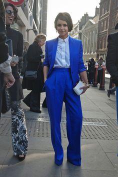 Fabulous electric blue suit. Love it London. Street Style London Fashion Week
