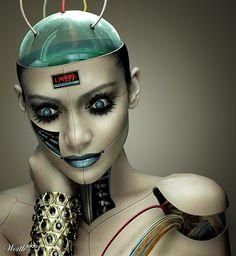 futuristic, digital art, cyborg, android, cyber girl