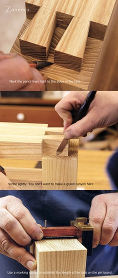 Dovetails Step by Step. Part 2 : Mark the Pins. http://www.quiet-corner.com/diy/make-dovetails-step-by-step-guide/