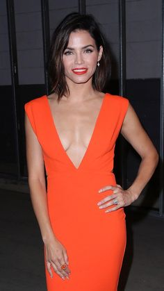 Jenna Dewan Tatum matched her tropical red v-neck dress to her bright and bold lip for a night out