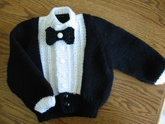 sooo cute free pattern Tuxedo Sweater for Baby great instuctions