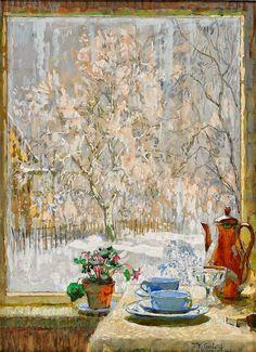 sofiz24: café près de la fenêtre, 1945, par Konstantin Gorbatov    Post-peintre impressionniste tuttartpitturasculturapoesiamusica.com