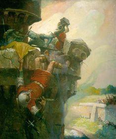 Ivanhoe - The Parapet Of Torquilstone Medieval Paintings, School Painting, Norman Rockwell, Old Master, Middle Ages, Illustrators, Illustration Art, Vintage Illustrations, Original Paintings