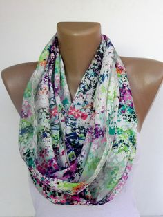 Infinity Scarf Mixed  colorful women scarves  cute scarf  by seno, $15.00