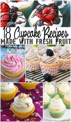 18 Cupcakes Made with Fresh Fruit, a collection of recipes featuring sinfully delicious cupcakes made with fresh fruit! from ThisSillyGirlsLife.com