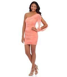 Jodi Kristopher Long-Sleeve One-Shoulder Dress | Dillard's Mobile