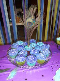 "Photo 14 of Peacock Party / Birthday ""Peacock Princess Party"" Peacock Cupcakes, Peacock Cake, Peacock Theme, Holiday Cupcakes, Easter Cupcakes, Yummy Cupcakes, Girl Birthday, Birthday Parties, Birthday Ideas"