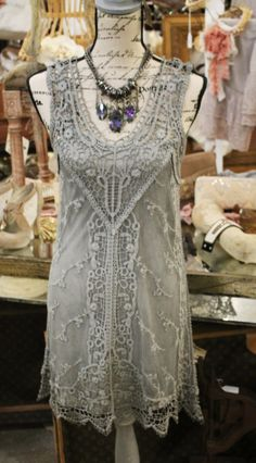 gorgeous silver crochet dress with slip $88 Small-Large  necklace $17.95