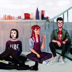 Teen Titans🌟 Usually I would draw my modern take on characters on a blank white canvas but instead I wanted to draw something different, that tells a story (if that makes sense) Starfire And Raven, Nightwing And Starfire, Teen Titans Fanart, Teen Titans Go, Marvel Dc Comics, Anime Comics, Ying Y Yang, Raven Cosplay, Raven Beast Boy