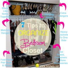 organizing a bedroom closet. Fast, Easy and FREE solutions to major organizing problems! Pin now read later… GREAT TIPS! Shoe Hanger, Organize Your Life, Closet Bedroom, Closet Organization, Getting Organized, Home Projects, Tricks, Cleaning Hacks, Helpful Hints