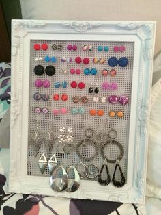 if you have an idea you would like to share with the Organised Housewife Community please email me, I would love to see and share it!I have been trying to find a better solution for my hanging earrings and I just LOVE this idea from one of my readers, can't wait to create one for myself I think…