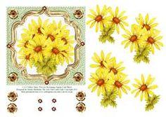 "6"" X 6"" Yellow Daisy Flowers Decoupage Square Card Sheet"