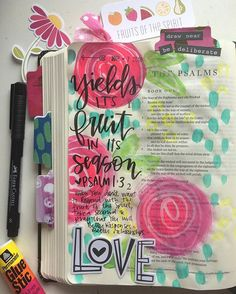 Bible Journaling by Valerie Wieners-Massie @valeriewieners | Psalm 1:1-3