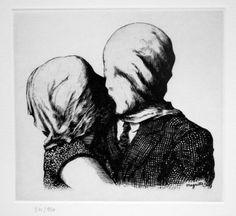 René Magritte , Les Amants / The Lovers. Original etching, 1928.