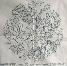 VINTAGE EMBROIDERY TRANSFER  - FLORAL CIRCLE - SMALL CUSHION / PANEL