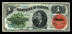 Canada, Dominion of Canada, 4 dollars : May 1882 Canadian Coins, Canadian Dollar, Ontario City, Coin Dealers, Flooring Sale, Newfoundland, Museum, Canada, Money