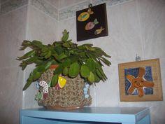 Nel mio bagno....vaso rivestito in corda con applicazioni di pesci in ceramica smaltata...tutto assolutamente hand-made