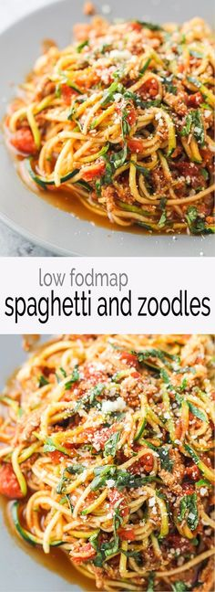 A yummy, low carb and lightened up version of the Italian classic, this Low Fodmap Spaghetti and Zoodles recipe is great for an easy, weeknight meal!