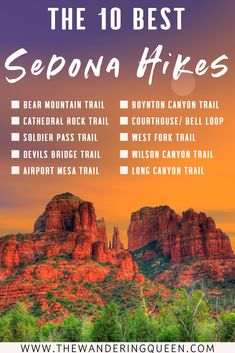 The 10 Absolute Best Sedona Hikes - The Wandering Queen Sedona Arizona, Arizona Travel, Las Vegas Hotels, Travel Guides, Travel Tips, Travel Destinations, Sedona Hikes, Pink Jeep, Hiking Trails
