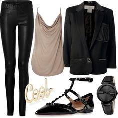 Create this look with CAbi's Ricky Jeggings, Knit Wrap Shirt and Ponte Moto or Owens Jacket.