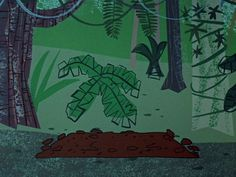 fragment of a background painting for the Huckleberry Hound episode 'Lion-Hearted Huck' (1958) by Fernando Montealegre