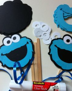 DIY Cookie Monster Inspired Kids Party Craft- Set of 8. $8.25, via Etsy.