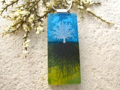 Long Tree Necklace Fused Glass Jewelry Rooted Tree by ccvalenzo